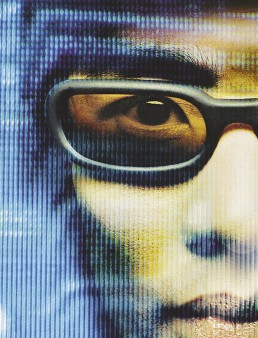 An advertising photograph for ID eyewear, it's a close up of a man wearing the sunglasses taken by Melbourne photographer Peter Rosetzky
