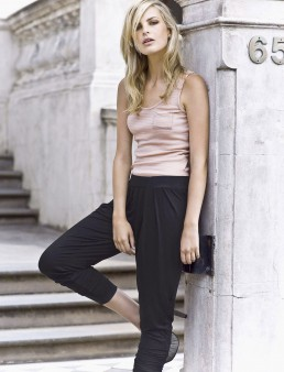A location fashion photograph of a blond model taken outside the Hatton Hotel for Melbourne fashion label Victoria and Woods.